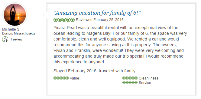 Michelle S review, Picara Pearl Villa & Suites Magens Bay, St. Thomas, U.S. Virgin Islands